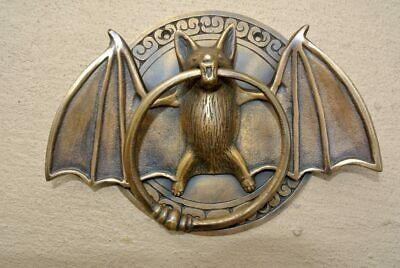 "heavy Door Knocker BAT ring old heavy front SOLID 100% BRASS old style 7"" B"