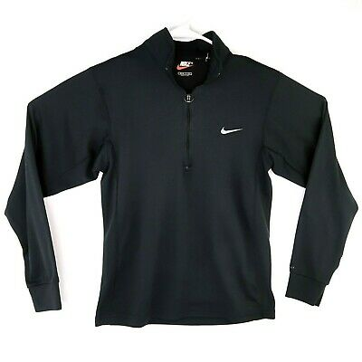 Vintage Made In USA Nike FIT 1/4-Zip Pull Over Size Small Black Running Dri Fit