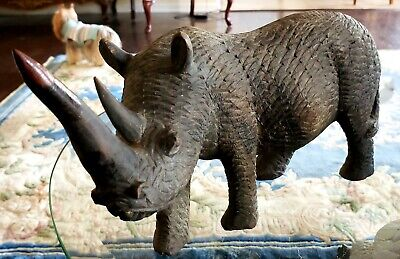 Antique 19Th Century Chinese Master Carver Wood Rhinoceros Spectacular Details