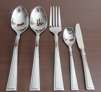 NEW 5 Piece Oneida BUTLER Serving Pieces Slotted Spoon, Large Fork + Glossy