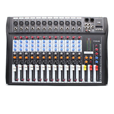 Pro 12 Channel Live Studio Audio Sound Mixer USB Mixing DJ Console
