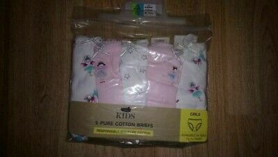5  X Marks & Spencers Girls  Cotton Fairy Briefs   Bnwt.  Age 4-5  Rrp £9