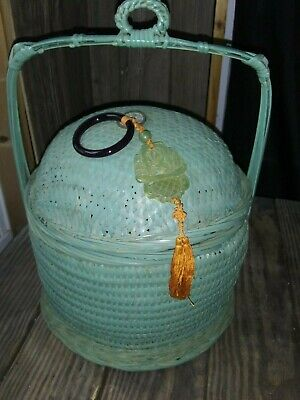 Old Vintage Green Chinese Sewing Basket Coin Jade Tassel Single Handle
