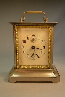 """Antique German Carriage Clock 5 3/4"""" Tall Nice Working Condition w/ Key"""