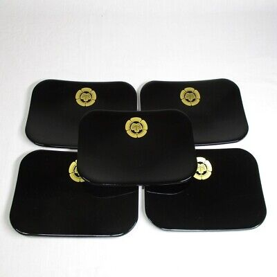 A151: Japanese Black Urushi Lacquered Wooden Tea Plate Set of 5 Meimeizara Kamon