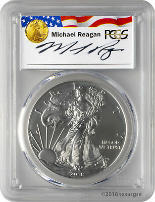 2018-W $1 Burnished American Silver Eagle PCGS SP70 - Reagan Legacy Series