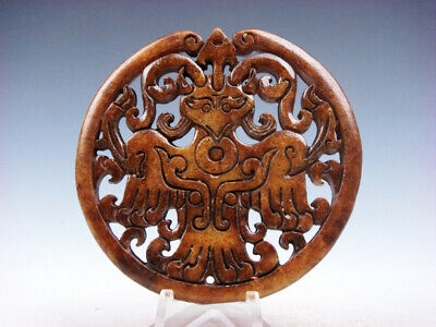 Old Nephrite Jade Stone Carved LARGE Pendant Ancient Monster Eagle #11281910C