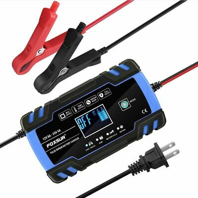 12/24V 4/8Amp LCD Smart Battery Maintainer Charger for Motorcycle Car Truck Red