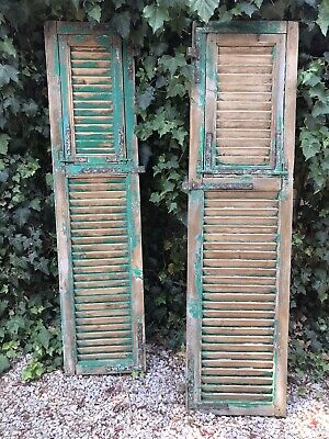 French Green Vintage Solid Timber Wooden Louvre Rustic Window Shutters Door