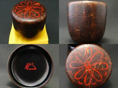 Japan Lacquer Wooden Tea caddy Chrysanthemum design on Unryu-Washi O-Natsume 927