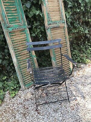 French Style Garden Metal Campaign Slatted Chair Very Heavy Solid Vintage Piece