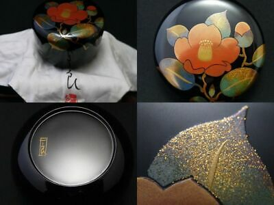 Japanese WAJIMA Lacquer Wooden Tea caddy CAMELLIA makie Hira-Natsume  1113
