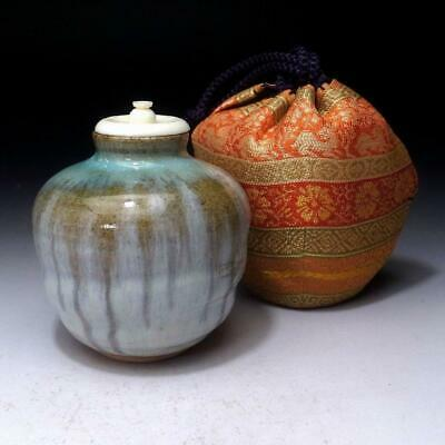 YG19 Vintage Japanese Tea Caddy, Akahada Ware by 1st class potter, Masando Oshio