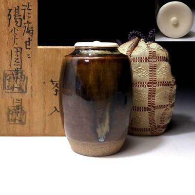 PE18: Japanese Tea Caddy with high-class lid, Zeze ware, Famous potter, Seko Omi