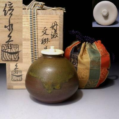 WE17: Japanese Tea Caddy with High-class lid by 1st class potter, Shinsui Ichino