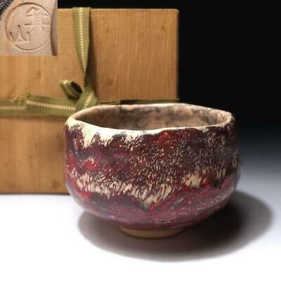 AE26 Japanese Tea bowl of Minoo Ware by Famous potter, Mizan Matsuda, Raku style