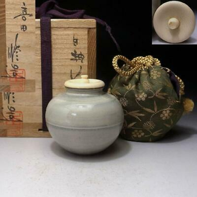 YH13: Vintage Japanese Tea Caddy with High-class Lid, Koda Ware by Osamu Aoki