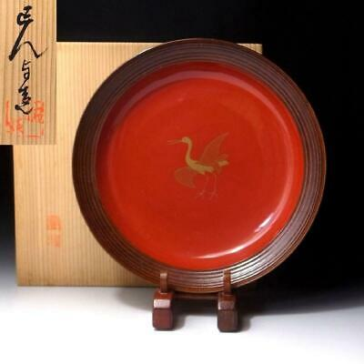 SB14 Vintage Japanese Lacquered Wooden Tea Plate with Signed woodn box, KASHIKI