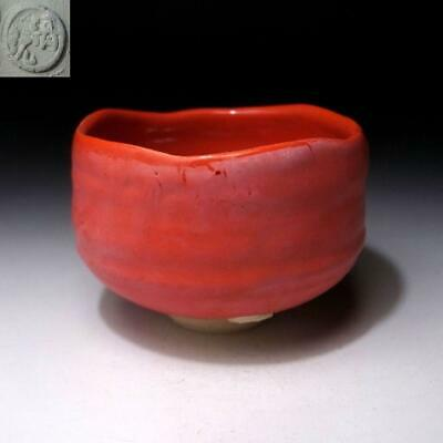 AM26: Japanese Tea Bowl, Raku ware by Famous potter, Seigan Yamane, Red glaze