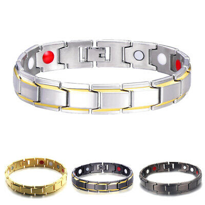 Energy Bracelet Loose Mens Gold Plated Therapeutic Magnetic Health Care Healing