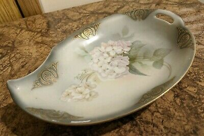 Antique Porcelain RS Germany Bonbon Candy Nuts Leaf Dish Hand Painted & Signed