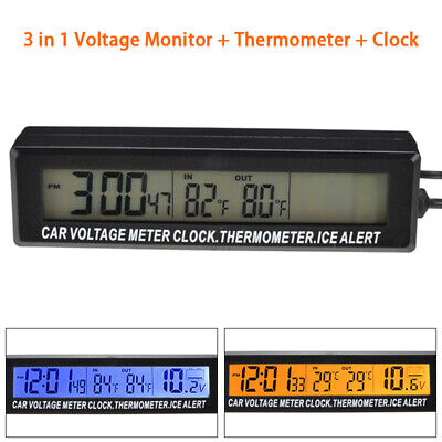 Car Auto LED Digital Clock Thermometer In / Outdoor Temperature Voltage Meter