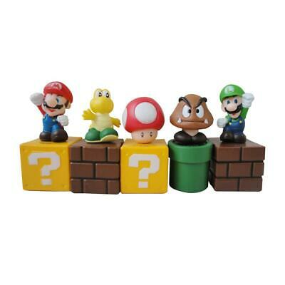 5PCS Super Mario Bros Action Figure Mini Figurines Cake Topper Doll Kid Toy Gift