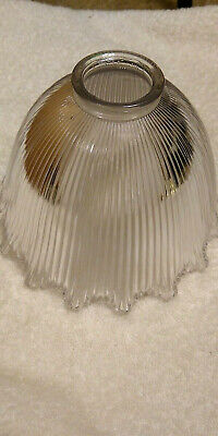 "Vintage Wellington Holophane Ribbed Ruffled Light Fixture Shade 2 1/4"" fitter  Z"