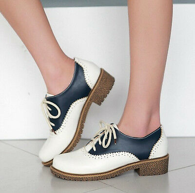 New Womens Fashion Retro British Lace Up Block Mid Heels Collegiate Oxford Shoes