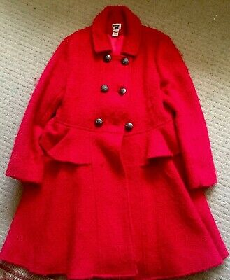 MONSOON XMAS RED WOOL COAT GORGOUS CLASSIC AGE 9-10 Yrs X Worn Cond