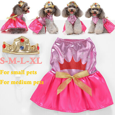 ✅Pet Cat Dog Christmas Party Outfit Costumes Princess Dress Xmas Clothes Coat UK