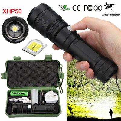 High Power 900000Lumens XHP50 Zoom Flashlight LED Rechargeable Torch Headlamp E