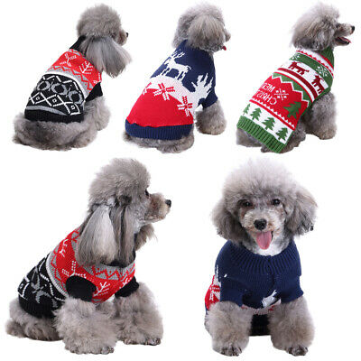 ✅Christmas Pet Dog Puppy Xmas Clothes Red Nose Elk Knit Sweater Jumper Pullover