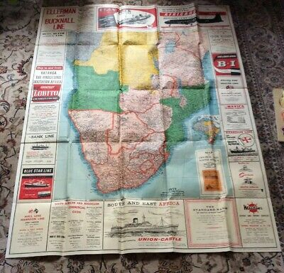 "Large Map Of Central & South Africa 53"" X40"" Dated 1959 With M. Navy Adverts"