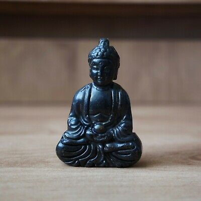Old Chinese Black Jade Stone Hand Made Carved Buddha Statue