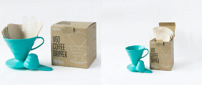 Hario V60 Teal Coffee Dripper Kit - Plastic Size 02, 40 Unbleached...