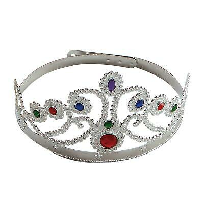 Silver Queens Princess Tiara Crown Fancy Dress Medieval Gothic Accessory Jewel