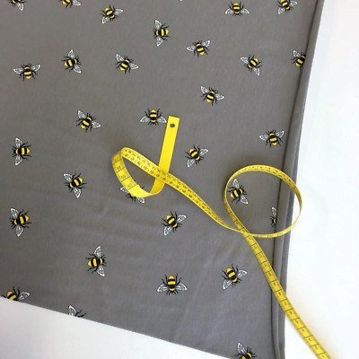 Scattered Bumble Bees Grey Jersey Print Fabric HALF METRE Dressmaking Knit Stret