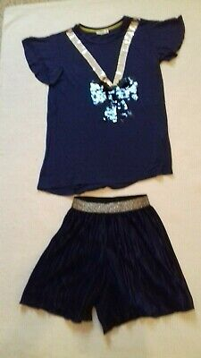 BNWT Girls Party Outfit ~ Navy Blue Sequin Top & Shorts ~ Age 9-10 years