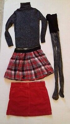 Girls Red Winter Outfit set ~ 2x Skirts Top Tights ~ M&S NEXT ~ Age 8-9 / Age 9
