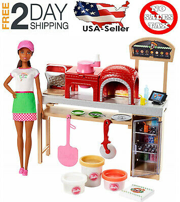🚛Free Fast Shipping! {NEW} Barbie Pizza Chef Doll and Playset Brunette Mattel