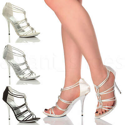 Womens Ladies High Heel Strappy T-Bar Diamante Wedding Evening Sandals Size