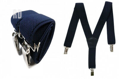 Baby/Childrens 0-2 Yrs Elasticated Clip on Braces/Suspenders - Dark Blue