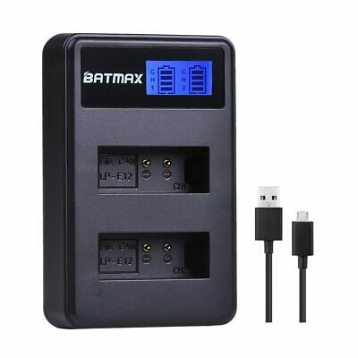 LCD USB Dual Battery Charger for Canon LP-E12 LPE12 LP E12 Batetry; Canon M 100D