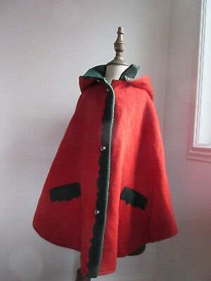 Vintage German?childs red green wool cape green check lining metal domed buttons