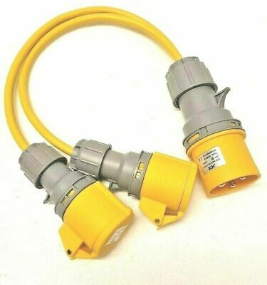 110V 32 AMP Plug to 2 x 16 AMP Sockets Splitter 2 Way 1.5mm Arctic Yellow Cable