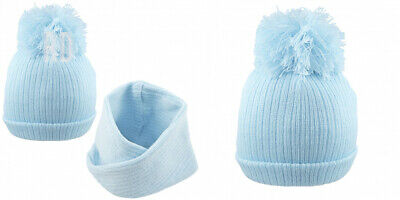 Pesci Baby Boys Pom Hats Winter Bobble Beanie Plain Wooly Knitted Bundle...