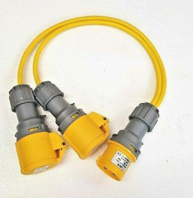 110V 16 AMP Plug to 2 x 16 AMP Sockets Splitter 2 Way 1.5mm Arctic Yellow Cable