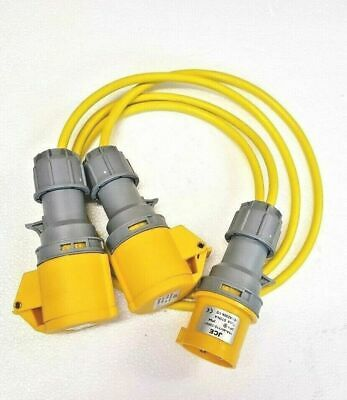 1M 110V 16 AMP Plug to 2x16 AMP Sockets Splitter 2 Way 1.5mm Arctic Yellow Cable