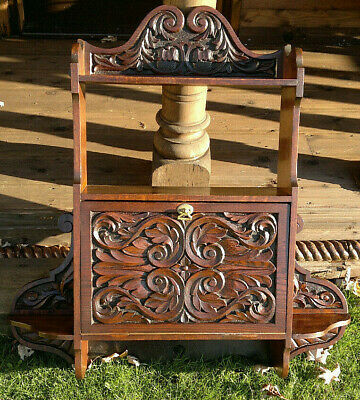 "Victorian Arts & Crafts Carved Oak Wall Cupboard~Shelf~Cabinet~34.5"" by 33"" wide"